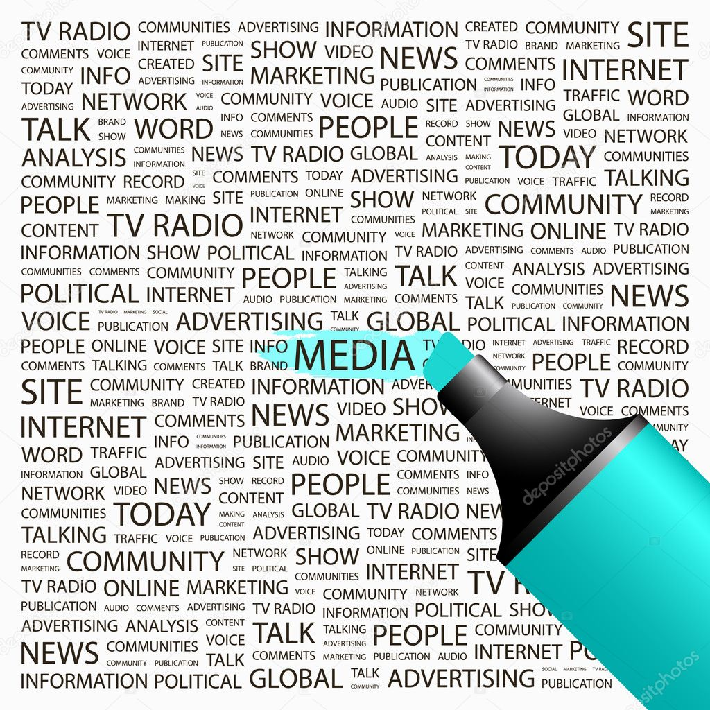 MEDIA. Highlighter over background with different association terms. Vector illustration.  Stock Vector #7164844