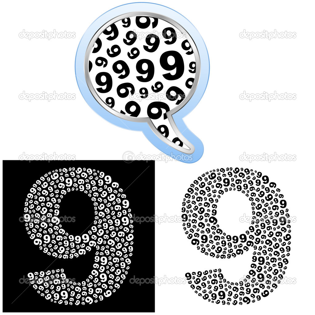 Nine. Number signs. Vector illustration.  Stock Vector #7165795