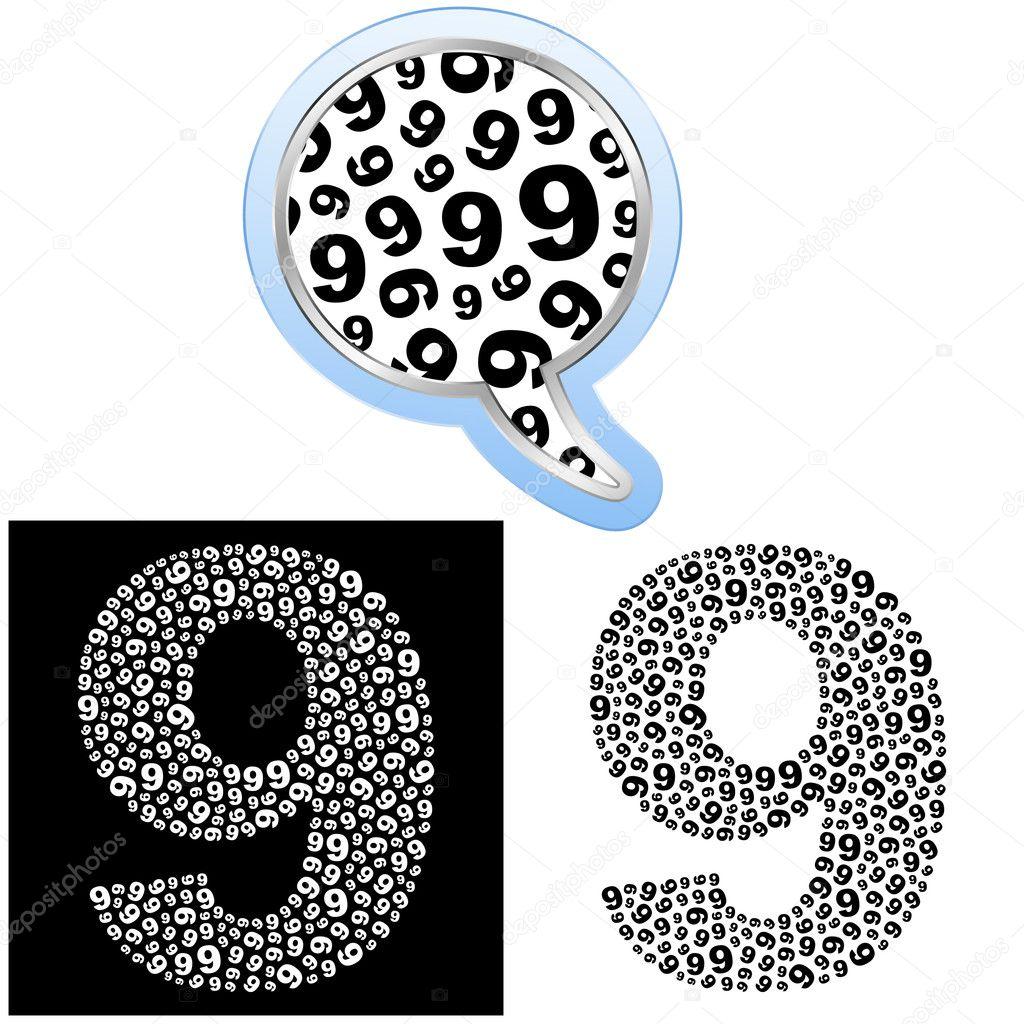 九个.数字符号.矢量插画