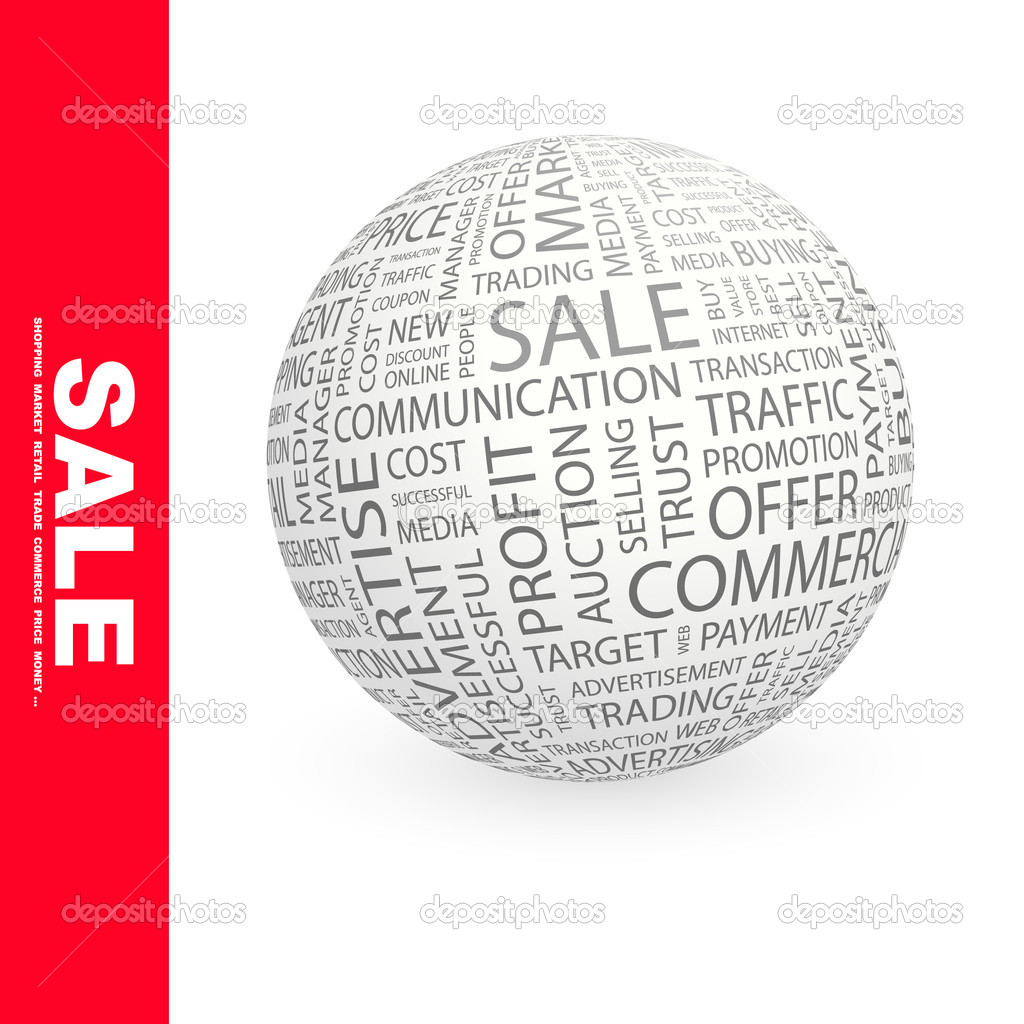 SALE. Word collage. Globe with different association terms. — Stock Vector #7166833