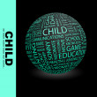 Cтоковый вектор: CHILD. Globe with different association terms.