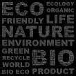 ECOLOGY. Word collage on black background. — Stockvector