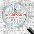 AGGRESSION. Magnifying glass over background with different association terms. — Stockvectorbeeld