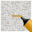 WEATHER.Highlighter over background with different association terms. - Stockvektor