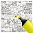 ART. Highlighter over background with different association terms. - Stockvektor