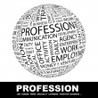 Wektor stockowy : PROFESSION. Globe with different association terms.
