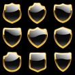 Vector shields. Set of heraldic symbols — Stock Vector