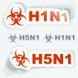 H1N1. H5N1. Warning sticker collection. — Stock Vector
