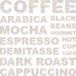 COFFEE. Word collage on white background.  — Imagens vectoriais em stock