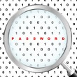 PASSWORD. Magnifying glass over binary code. Vector illustration. - Imagen vectorial