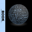 Book. Globe with different association terms. — Imagens vectoriais em stock