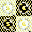Magnifying glass over seamless background with euro and dollar signs. — Stock Vector