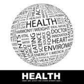 HEALTH. Globe with different association terms. — Stock Vector