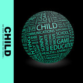CHILD. Globe with different association terms. — 图库矢量图片
