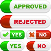Approved and rejected buttons. Vector set. — Stock Vector