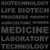 BIOTECHNOLOGY. Seamless vector background. Wordcloud illustration. — Vettoriale Stock