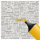 DANCE. Highlighter over background with different association terms. — Stock Vector