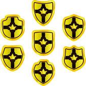Vector shield set for design. Golden collection. — Stock Vector