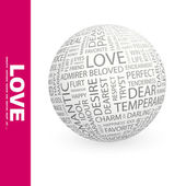 LOVE. Word collage on white background. — Stock Vector