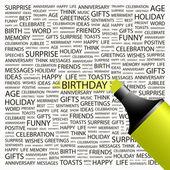 Födelsedag. överstrykningspenna över bakgrund med olika association villkor. — Stockvektor