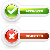Approved and rejected buttons. Vector illustration. — Stock Vector