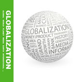 GLOBALIZATION. Globe with different association terms. — Stock Vector