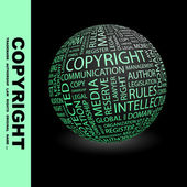 Copyright. Globe with association terms. — Stock Vector