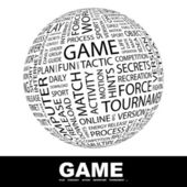 Game.Globe with different association terms. Wordcloud vector illustration. — Stock Vector