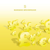 Business background. Vector dollar, euro, yen and pound signs. — Stock Vector