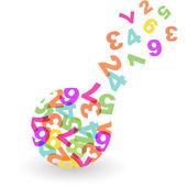 Globo con mezcla de número. ilustración vectorial. — Vector de stock