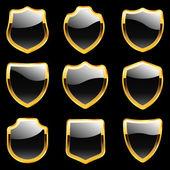 Vector shields. Set of heraldic symbols — Stock Vector
