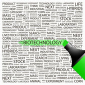 BIOTECHNOLOGY. Word collage on white background. — Stock Vector