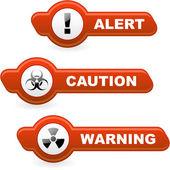 Warnung vektor schaltflächenset. — Stockvektor