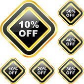 Szablony etykiet z różnych wartości procentowe zniżki — Wektor stockowy