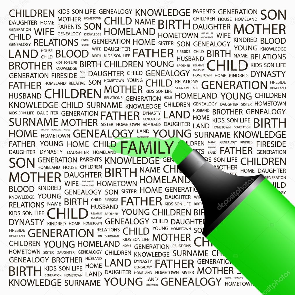 FAMILY. Highlighter over background with different association terms. Vector illustration. — Stock Vector #7170360