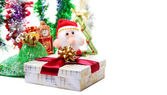 Christmas toys and decorations on a white background — Stock Photo