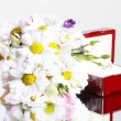Stock Photo: Wedding flowers and ring in box