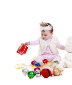 Little Girl with Christmas decorations — Stock Photo