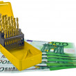 European banknotes and Drill - Foto de Stock  
