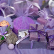 Lavander soaps and bath salts — Stock Photo #7679386