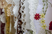 Cloth embroidered with flowers — Stockfoto
