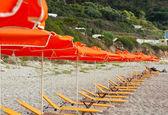 Deck chairs beach — Stock Photo