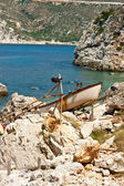 Boat on the stones — Stock Photo