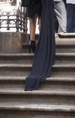 Women model on a staircase — Stock Photo