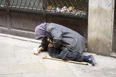 Elder woman homeless — Stock Photo