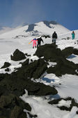 Walking on Etna Volcano covered by snow — Foto Stock