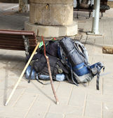 Backpacks, Way of St. James — Стоковое фото