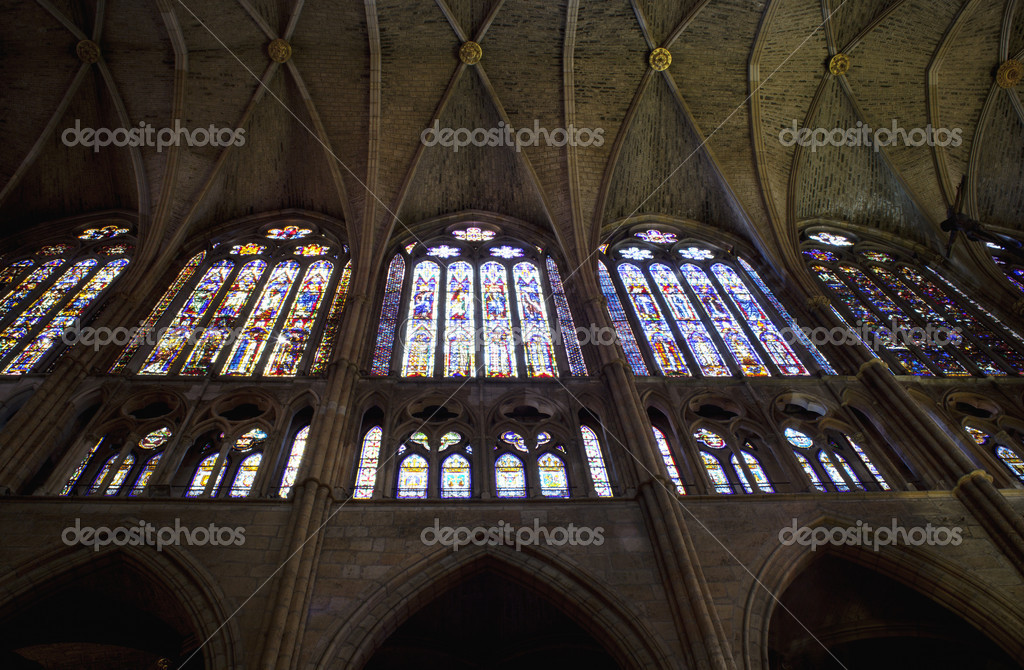 Windows of Leon Cathedral, Spain — Stock Photo #7889476