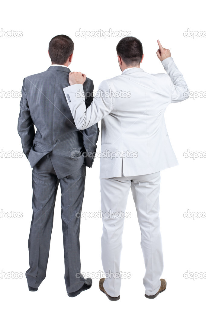 Two businessmen discuss. Rear view. Isolated over white background.  Stock Photo #7183319