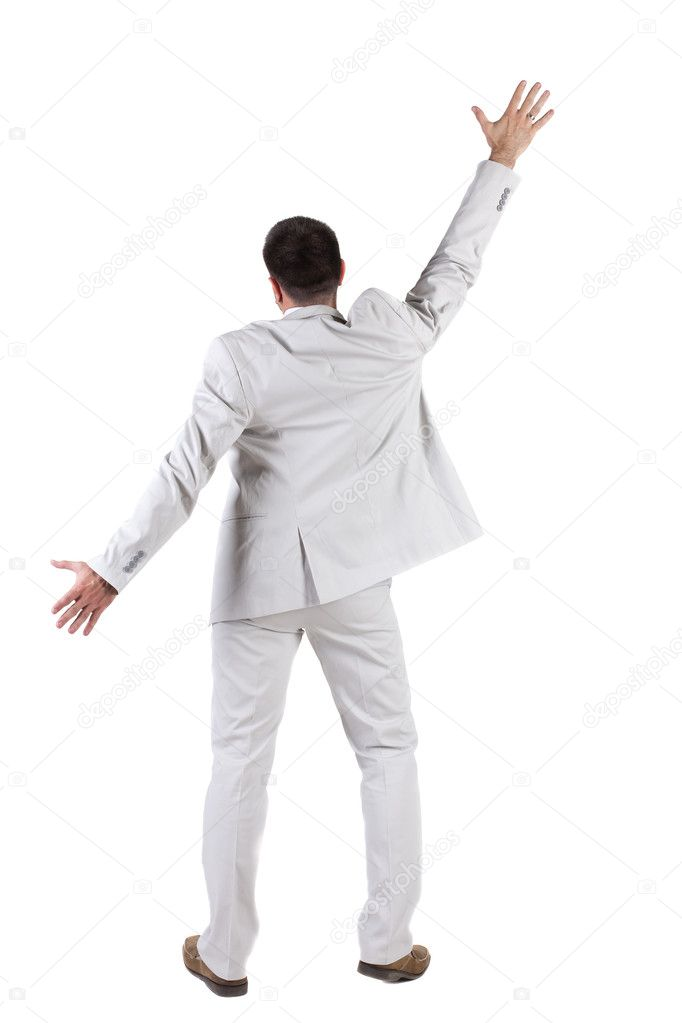 Businessman thumbs up. rear view. Isolated over white . — Stock Photo #7183354